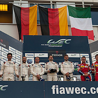 LMGTE Pro Podium, no.1 #91, Porsche 911 RSR, Porsche Team Manthey, driven by Richard Lietz, Michael Christensen, no.2 #92, driven by Patrick Pilet, Frederic Makowiecki, no.3 #71, F458 Italia, AF Corse Ferrari, driven by Davide Rigon, James Calado, FIA WEC 6Hrs Nurburgring 30/08/2015
