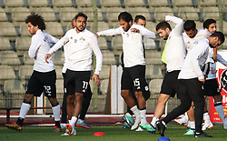 June 5, 2018 - Brussels, BELGIUM - Egypt's Amr Warda, Egypt's Kahraba and Egypt's El Wensh pictured during a training session of the Egyptian national soccer team, Tuesday 05 June 2018, in Brussels. Egypt will play on Wednesday a friendly game against the Belgian national soccer team Red Devils to prepare the upcoming FIFA World Cup 2018 in Russia. BELGA PHOTO VIRGINIE LEFOUR (Credit Image: © Virginie Lefour/Belga via ZUMA Press)