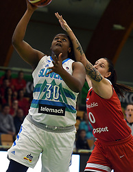 Shante Marie Evans shoots during friendly basketball match between Women teams of Slovenia and Czech Republic before EuroBasket Serbia 2019, on May 31st, 2019 in Arena Tri Lilije, Lasko, Slovenia. Photo by Milos Vujinovic / Sportida