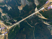 ZHENGZHOU, CHINA - JANUARY 26: (CHINA OUT) <br /> <br /> An aerial view of a suspension bridge, about 300 metres above ground, at The Grand Canyon of Zhangjiajie on January 27, 2016 in Zhangjiajie, Hunan Province of China. The glass-bottomed bridge, 430 meters in length and 6 meters in width, is expected to open in May this year.<br /> ©Exclusivepix Media