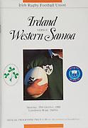 Irish Rugby Football Union, Ireland v Western Samoa, Friendly, Landsdowne Road, Dublin, Ireland, Saturday 29th October, 1988,.29.10.1988, 10.29.1988,..Referee-W D Bevan, W.R.U., ..Score - Ireland 49-22 Samoa, ..Irish Team, ..P P Danaher,  Wearing number 15 Irish jersey, Full Back, Garryowen Rugby Football Club, Ireland,..J F Sexton,  Wearing number 14 Irish jersey, Right Wing, Lansdowne Rugby Football Club, Dublin, Ireland,..B J Mullin, Wearing number 13 Irish jersey, Right Centre, London Irish, Rugby Football Club, London, England,..M J Kiernan, Wearing number 12 Irish jersey, Left Centre, Dolphin Rugby Football Club, Cork, Ireland, ..K D Crossan, Wearing number 11 Irish jersey, Left Wing, Instonians Rugby Football Club, Belfast, Northern Ireland,..P M Dean, Wearing number 10 Irish jersey, Out Half, St Marys Rugby Football Club, Dublin, England, ..F P Aherne, Wearing number 9 Irish jersey, Scrum Half, Lansdowne Rugby Football Club, Dublin, Ireland,..N P Mannion, Wearing number 8 Irish jersey, Forward, Corinthians Rugby Football Club, Ireland, ..W D McBride, Wearing number 7 Irish jersey, Forward, Malone Rugby Football Club, Belfast, Northern Ireland,..P M Mathews, Wearing number 6 Irish jersey, Captain of the Irish team, Forward, Wanderers Rugby Football Club, Dublin, Ireland,..N P T Francis, Wearing number 5 Irish jersey, Forward, London Irish Rugby Football Club, London, England,..D G Lenihan, Wearing number 4 Irish jersey, Captain of the Irish team, Forward, Cork Constitution Rugby Football Club, Cork, Ireland,..J J McCoy, Wearing number 3 Irish jersey, Forward, Bangor Rugby Football Club, Northern Ireland,..S J Smith, Wearing number 2 Irish jersey, Forward, Balymena Rugby Football Club, Northern Ireland,..T P J Clancy, Wearing number 1 Irish jersey, Forward, Lansdowne Rugby Football Club, Dublin, Ireland,..Western Samoan Team, ..A Aiolupo, Wearing number 15 Samoan jersey, Full Back, Mota'a Rugby Football Club, Western Samoa,..L Koko, Wearing number 14 Samoan je