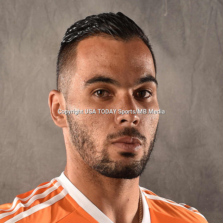 Feb 25, 2016; USA; Houston Dynamo player Alex Lima poses for a photo. Mandatory Credit: USA TODAY Sports