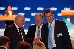 """20.11.2015, Messe Muenchen, Muenchen, GER, CSU Parteitag 2015, Festakt """"70 Jahre CSU"""", im Bild (v.li.) Volker Kauder im Gespraech mit Dr. h.c. Hans Michelbach und Dr. Markus Soeder, // during ceremony """"70 years CSU"""" of CSU party convention in 2015 at the Messe Muenchen in Muenchen, Germany on 2015/11/20. EXPA Pictures © 2015, PhotoCredit: EXPA/ Eibner-Pressefoto/ Krieger<br /> <br /> *****ATTENTION - OUT of GER*****"""