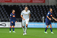 Swansea city's Danny Graham celebrates after scoring.  .Pre-season friendly match, Swansea city v Blackpool at the Liberty Stadium in Swansea, South Wales on Tuesday 7th August 2012. pic by Andrew Orchard, Andrew Orchard sports photography,