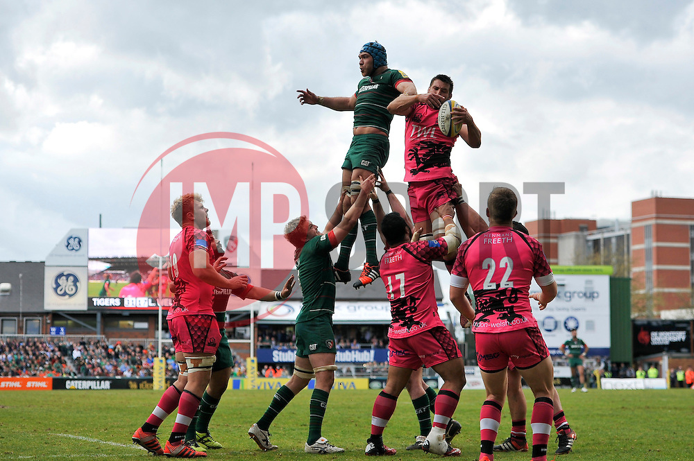 Matt Corker of London Welsh claims the ball at a lineout - Photo mandatory by-line: Patrick Khachfe/JMP - Mobile: 07966 386802 25/04/2015 - SPORT - RUGBY UNION - Leicester - Welford Road - Leicester Tigers v London Welsh - Aviva Premiership