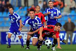 Damjan Oslaj (29) of Nafta and Nezbedin Selimi (11) of Primorje  at 12th Round of PrvaLiga Telekom Slovenije between NK Primorje vs NK Nafta Lendava, on October 5, 2008, in Town stadium in Ajdovscina. Nafta won the match 2:1. (Photo by Vid Ponikvar / Sportal Images)