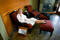 The cool down or relaxation area of a resort spa often offers as much appeal as the treatment itself.  Brentwood Bay, Vancouver Island, British Columbia, Canada.