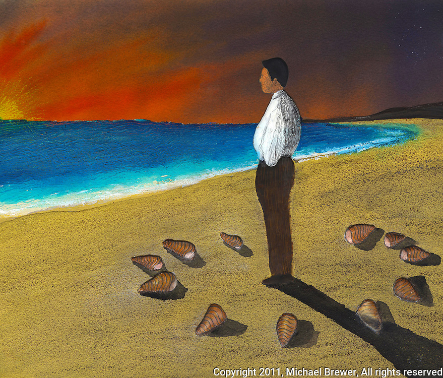 A man is standing on a beach at sunset looking out over the ocean and casting a shadow.