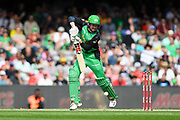 17th February 2019, Marvel Stadium, Melbourne, Australia; Australian Big Bash Cricket League Final, Melbourne Renegades versus Melbourne Stars; Ben Dunk of the Melbourne Stars hits the ball through the off side