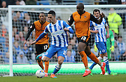Beram Kayal, Brighton midfielder and Benik Afobe during the Sky Bet Championship match between Brighton and Hove Albion and Wolverhampton Wanderers at the American Express Community Stadium, Brighton and Hove, England on 14 March 2015.