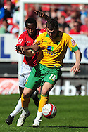 London - Saturday, April 17th 2010: Jose Semedo of Charlton Athletic and Chris Martin of Norwich City during the Coca Cola League One match at The Valley, Charlton...(Pic by Alex Broadway/Focus Images)