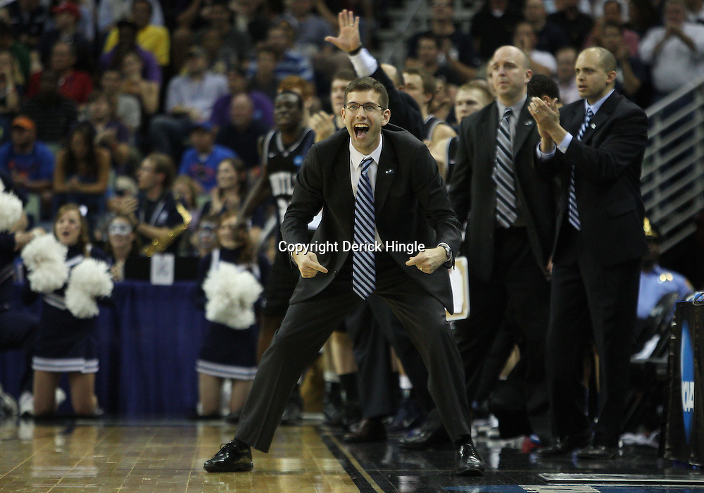 Mar 26, 2011; New Orleans, LA; Butler Bulldogs head coach Brad Stevens against the Florida Gators during the second half of the semifinals of the southeast regional of the 2011 NCAA men's basketball tournament at New Orleans Arena.   Mandatory Credit: Derick E. Hingle