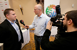 Matej Avanzo of KZS interviewed by Robert Kukovica of Sport TV at Eurobasket 2013 Candidate presentation of Slovenia at FIBA EUROPE Board on December 05, 2010 in Munich, Germany. The Board decided that Eurobasket 2013 will be hold in Slovenia. (Photo By Vid Ponikvar / Sportida.com)