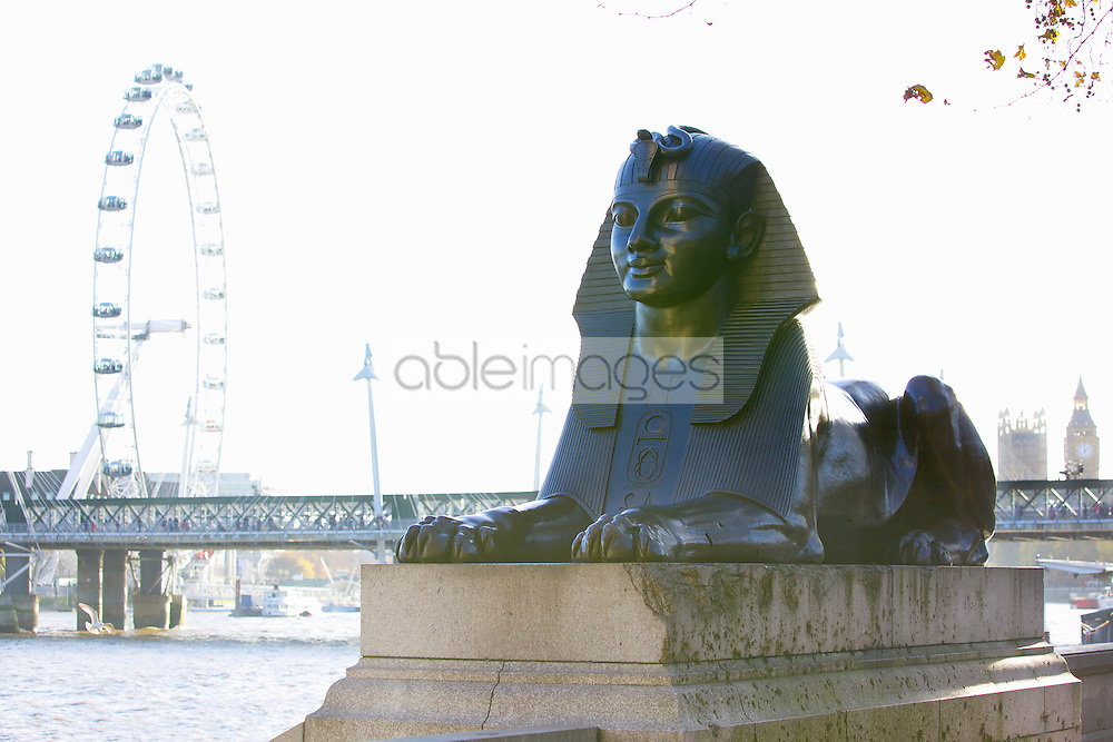 Sphinx Sculpture and London Eye, London, England