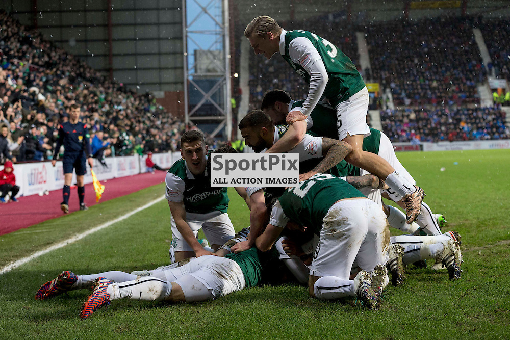 Hibernian v St Johnstone Scottish League Cup semi-final 2015-2016  <br /> <br /> Hibs team celebrate with John McGinn (Hibernian) after scoring the winning goal during the Hibernian v St Johnstone, Scottish League Cup semi-final at Tynecastle Stadium on Saturday 30 January 2016.<br /> <br /> Picture: Alan Rennie