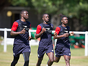 Genserix Kusungaleads the way from Glen Kamara and Jean Alassane Mendy - Dundee pre-season training on Thursday 28th June at University Grounds, Riverside, Dundee, <br /> <br /> <br />  - &copy; David Young - www.davidyoungphoto.co.uk - email: davidyoungphoto@gmail.com