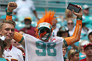Sunday, October 13, 2019; Miami Gardens, FL USA;  An excited Miami Dolphins fan cheers for his team during an NFL game against Washington at Hard Rock Stadium. The Redskins beat the Dolphins 17-16. (Kim Hukari/Image of Sport)