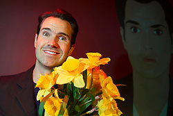 Comedian Jimmy Carr pictured gagging to support Daffodil Day prior to his Dublin performance, in advance of the Irish Cancer Society's 26th Daffodil Day, which is supported by Dell, taking place on Friday 22nd March. Organisers are hoping to raise ?3.4million for cancer information, care and support services around the country and appeal for volunteers to get involved. Visit www.cancer.ie or CallSave 1850 60 60 60 to organise, volunteer or donate. Daffodil Day is kindly supported by Dell. Picture Andres Poveda.