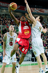 Dontaye Draper of Cedevita Zagreb vs Vlado Ilievski of Union Olimpija during basketball match between KK Union Olimpija and Cedevita Zagreb in 21st round of NLB league in Arena Stozice, on Februar 19, 2011 at SRC Stozice, Ljubljana, Slovenia. (Photo By Matic Klansek Velej / Sportida.com)