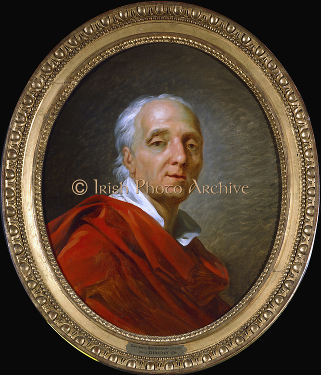 Denis Diderot (1713-1784) French man of letters and encyclopaedist. Portrait by Antoine Barthelemy or Berthelmy. Oil on canvas.