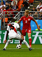 16th June 2018, Mordovia Arena, Mordovia, Russia; FIFA World Cup WM Weltmeisterschaft Fussball Football, Group C, Peru versus Denmark; Nicolai Jorgensen of Denmark trying to pass Christian Ramos of Peru PUBLICATIONxINxGERxSUIxAUTxHUNxSWExNORxDENxFINxONLY ActionPlus12037589 UlrikxPedersen