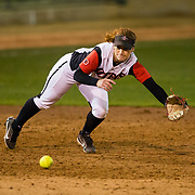 15 February 2018: The San Diego State softball team hosts #25 Kentucky to open up the 28th annual Campbell/Cartier Classic. San Diego State shortstop Shelby Thompson (20) dives for a ball hit up the middle in the top of the sixth inning. The Aztecs lost to the Wildcats 5-0.<br /> More game action at www.sdsuaztecphotos.com