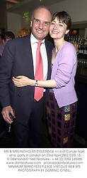 MR & MRS NICHOLAS COLERIDGE m/d of Conde Nast, at a  party in London on 23rd April 2002.	OZG 15