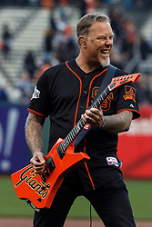 SAN FRANCISCO, CA - MAY 06: Recording artist James Hetfield of the rock band Metallica performs the national anthem on the field before the game between the San Francisco Giants and the Colorado Rockies at AT&T Park on May 6, 2016 in San Francisco, California. The San Francisco Giants defeated the Colorado Rockies 6-4. (Photo by Jason O. Watson/Getty Images) *** Local Caption *** James Hetfield