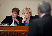 Nov 15, 2010 - Washington, District of Columbia, U.S. - Rep. ZOE LOFGREN (D-CA) listens as Rep. Charles Rangel, (D-N.Y.) appears before a Adjudicatory Subcommittee hearing to determine whether any alleged ethics violations he committee can be proven by clear and convincing evidence. The hearing/trial is expected to last approximately one week..(Credit Image: © Pete Marovich/ZUMA Press)