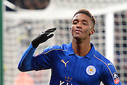 Leicester City midfielder Demarai Gray (22) celebrates after scoring a goal to make it 3-1 in extra time during The FA Cup fourth round replay match between Leicester City and Derby County at the King Power Stadium, Leicester, England on 8 February 2017. Photo by Jon Hobley.