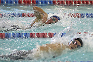 Dubuque Senior's Molly Lembezeder (top) battles with Linn-Mar's Jenn Jenks in the 100 yard freestyle event at the Girls' High School State Swimming & Diving Championships at the Marshalltown YMCA/YWCA in Marshalltown on Saturday, November 9, 2013. Jenks placed third with a time of 52.15 and Lembezeder placed fourth with a time of 52.34.