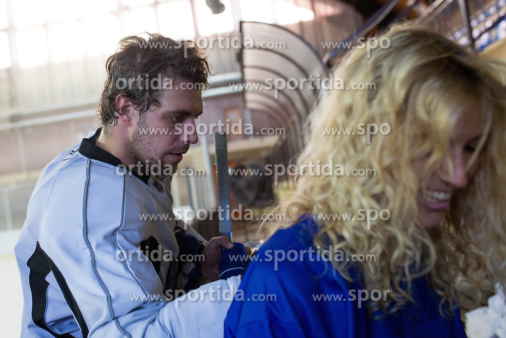 Anze Kopitar, NHL star and player of Los Angeles Kings with fan during practice session and press conference before Kopitar's departure to USA, on August 28, 2014 in Ledna dvorana Bled, Slovenia. Photo by Matic Klansek Velej  / Sportida.com