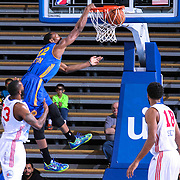 Santa Cruz Warriors Guard Dominique Sutton (22) dunks the ball as Delaware 87ers Forward Kenny Hall (33) looks on in the first half of a NBA D-league regular season basketball game between the Delaware 87ers and the Santa Cruz Warriors (Golden State Warriors) Tuesday, Jan. 13, 2015 at The Bob Carpenter Sports Convocation Center in Newark, DEL