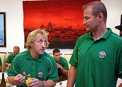Tomaz Vnuk and Nik Zupancic at meeting of HD Tilia Olimpija with slovenian journalists before the new season,  on September 15, 2008 in Tivoli, Ljubljana, Slovenia.  (Photo by Vid Ponikvar / Sportal Images)