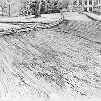 Sketchbook drawing of park in Exeter