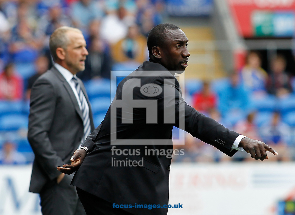 Paul Trollope, Head Coach of Cardiff City and Jimmy Floyd Hasselbaink of Queens Park Rangers during the Sky Bet Championship match at the Cardiff City Stadium, Cardiff<br /> Picture by Mike Griffiths/Focus Images Ltd +44 7766 223933<br /> 14/08/2016