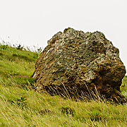 This is a natural rock sticking out from a hillside on the way down to the Giants Causeway in County Antrim, Northern Ireland. To me this rock looks like a Chinese lion's head, or maybe some creature from sci-fi. Can you see it?