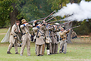 Arkansas, AR, USA, Old Washington State Park, Civil War Weekend. Confederate soldiers at battle