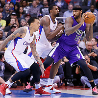 25 October 2013: Los Angeles Clippers center DeAndre Jordan (6) and Los Angeles Clippers small forward Matt Barnes (22) defend on Sacramento Kings center DeMarcus Cousins (15) during the Sacramento Kings 110-100 victory over the Los Angeles Clippers at the Staples Center, Los Angeles, California, USA.