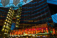 The tent like roof of the Sony Center, Potsdamer Platz, Mitte, Berlin, Germany