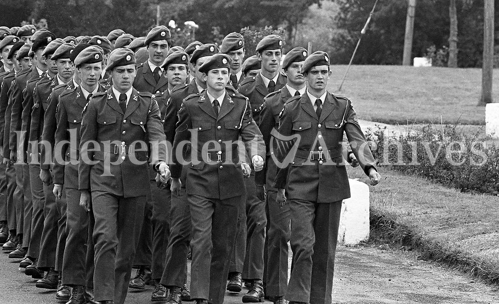 Members of the FCA 21st Batt on parade at Gormanston Camp, Meath, 05/08/1982 (Part of the Independent Newspapers Ireland/NLI Collection).