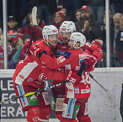 17.03.2019, Stadthalle, Klagenfurt, AUT, EBEL, EC KAC vs HCB Suedtirol Alperia, Viertelfinale, 3. Spiel, im Bild Marcel WITTING (EC KAC, #47), Thomas HUNDERTPFUND (EC KAC, #27), Johannes BISCHOFBERGER (EC KAC, #46) // during the Erste Bank Icehockey 3rd quarterfinal match between EC KAC and HCB Suedtirol Alperia at the Stadthalle in Klagenfurt, Austria on 2019/03/17. EXPA Pictures © 2019, PhotoCredit: EXPA/ Gert Steinthaler