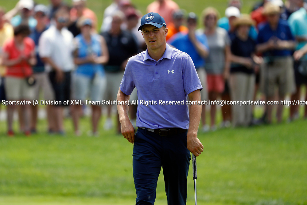 CROMWELL, CT - JUNE 23: Jordan Spieth during the second round of the Travelers Championship on June 23, 2017, at TPC River Highlands in Cromwell, Connecticut. (Photo by Fred Kfoury III/Icon Sportswire)