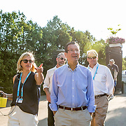 August 24, 2016, New Haven, Connecticut: <br /> Tournament Director Anne Worcester and Connecticut Governor Dannel Malloy tour the grounds during Day 6 of the 2016 Connecticut Open at the Yale University Tennis Center on Wednesday, August  24, 2016 in New Haven, Connecticut. <br /> (Photo by Billie Weiss/Connecticut Open)