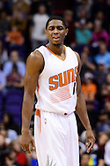 Dec 29, 2016; Phoenix, AZ, USA;  Phoenix Suns guard Brandon Knight (11) reacts to a call made in the first half of the NBA game against the Toronto Raptors at Talking Stick Resort Arena. Mandatory Credit: Jennifer Stewart-USA TODAY Sports