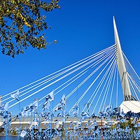 Esplanade Riel and Blue Flags in Winnipeg, Canada<br />