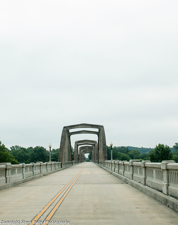 Driving over the historic Rainbow Bridge at Cotter, Arkansas