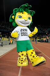 The mascot for the 2010 FIFA World Cup in South Africa, Zakumi - a leopard with green hair wearing a shirt saying South Africa 2010