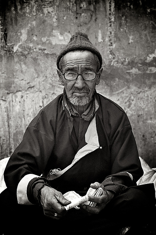 Portrait of Ladakhi man from Leh, Ladakh.<br />