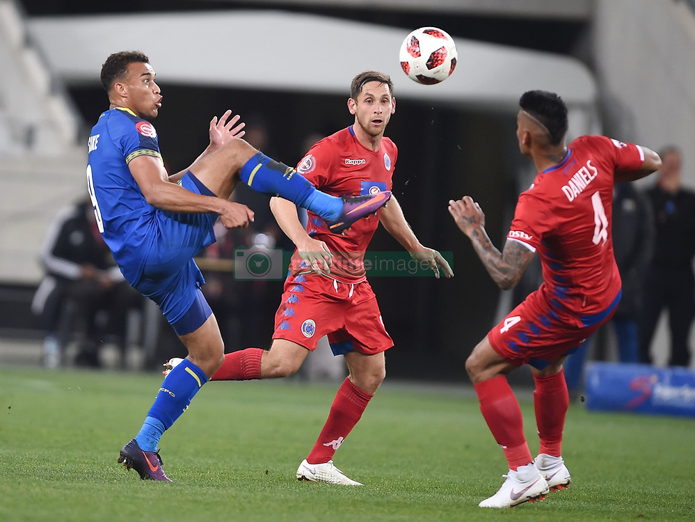 Cape Town-180804 Cape Town City striker siphelele Mthembu challenged by Calyton Daniels and Dean Furman of Supersport in the first game of the 2018/2019 season at Cape Town Stadium.photograph:Phando Jikelo/African News Agency/ANAr